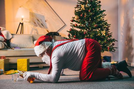 drunk bad santa claus Stock Photo