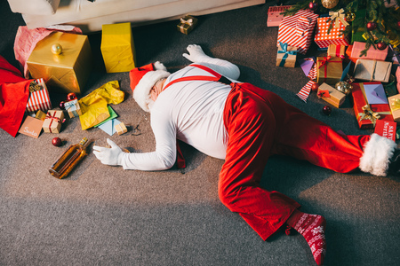 drunk bad santa Stock Photo