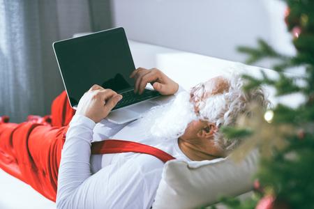 santa claus using laptop
