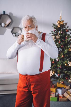 santa claus drinking coffee
