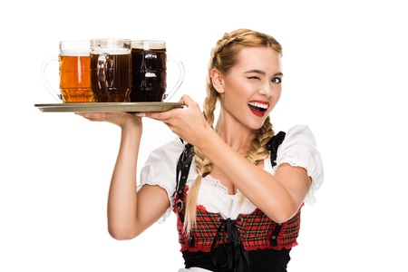 winking waitress with beer glasses