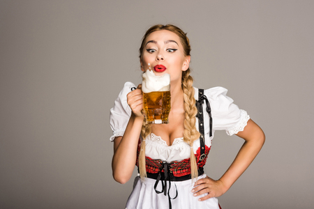 attractive girl with beer Фото со стока