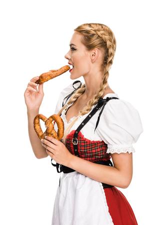 german girl eating pretzels
