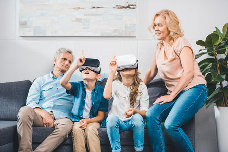 grandchildren using virtual reality headsets Reklamní fotografie