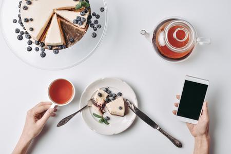 woman eating cheesecake