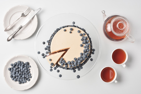 sliced cheesecake with blueberries Stock Photo