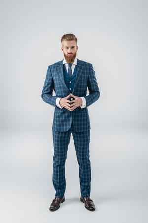 handsome man in blue suit Imagens