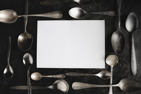 rustic spoons and blank paper Reklamní fotografie