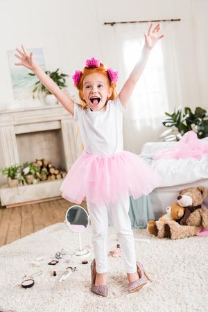 ハイヒールの女の子を興奮 写真素材