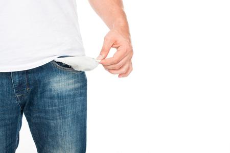 Pauvre homme avec une poche vide Banque d'images - 86850308