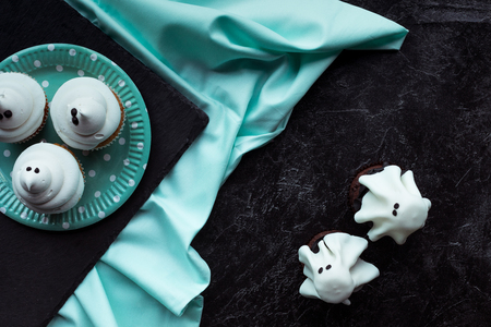 halloween ghost cupcakes Stock Photo