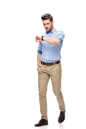 man looking at watch Stock Photo