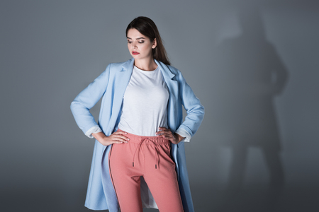 girl in blue trench Stock Photo