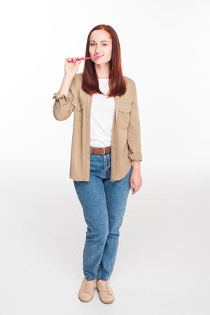 歯を磨く女性 写真素材