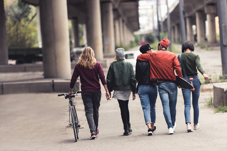 group of young stylish people