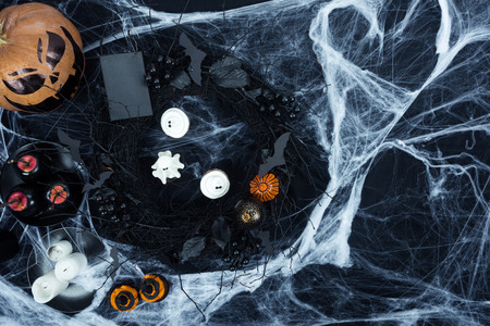 halloween decorations and cobweb