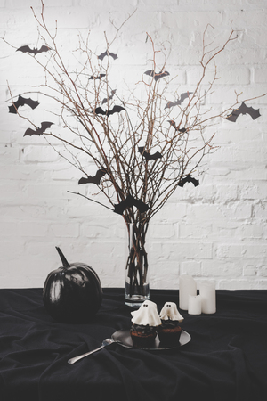 halloween decorations and cupcakes