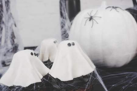 halloween ghost cupcakes Stock Photo