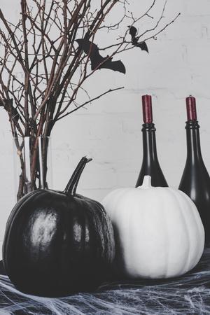 halloween pumpkins and decorations Stock fotó