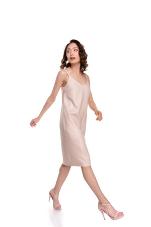 asian girl in dress walking Stock Photo