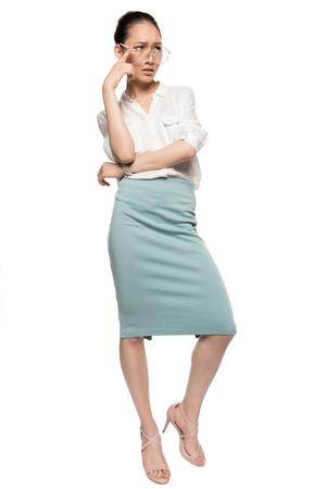 gorgeous asian woman in eyeglasses Stock Photo