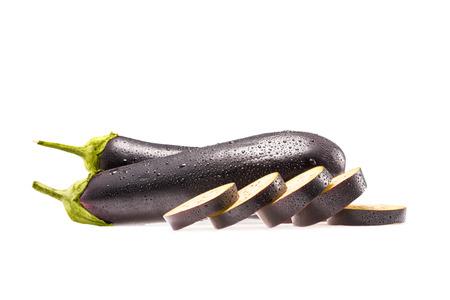 sliced eggplants Stock Photo