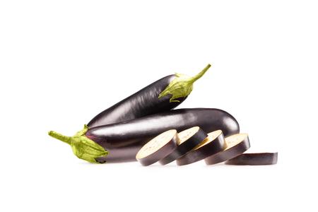 raw sliced eggplants