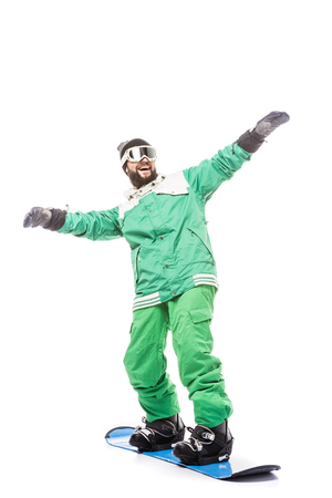 man standing on snowboard