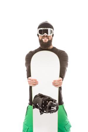 jonge man met snowboard Stockfoto