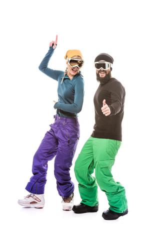 couple in snowboard glasses