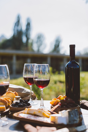 red wine with snacks