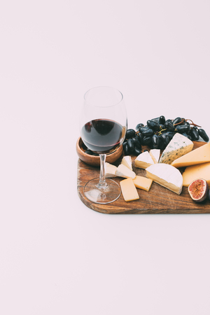 wine and various snacks Stock Photo