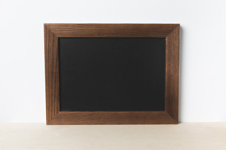 close-up view of blank board with copy space on white Stock Photo