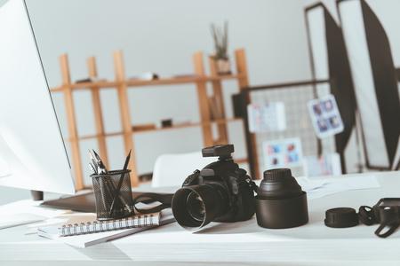 workspace with photo camera 版權商用圖片