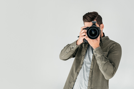 photographer with digital photo camera Banque d'images