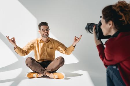 model in lotus position