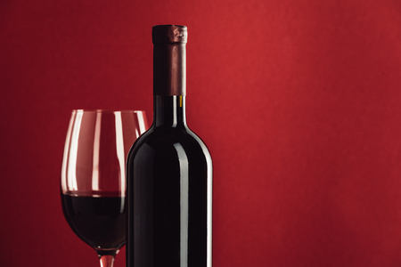 red wine in glass and bottle Banco de Imagens