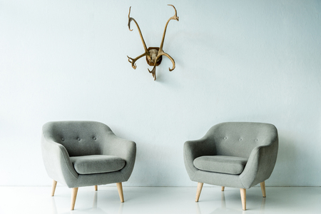 gray armchairs and antlers on wall Stock Photo