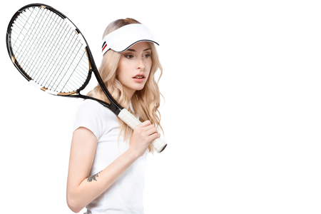 Young woman with tennis racket