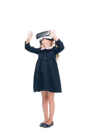little schoolgirl in VR headset Stock fotó