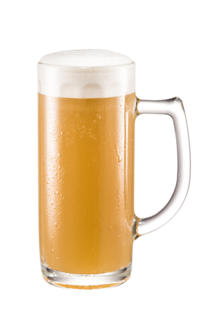 close up view of glass of fresh beer isolated on white