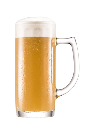 close up view of mug of cold beer isolated on white