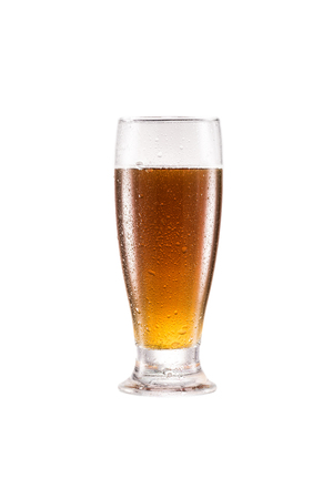 close up view of glass of fresh tasty beer isolated on white