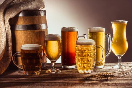 assortment of beer in glasses