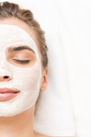 vrouw met gezichtsmasker Stockfoto