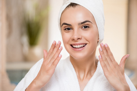 woman bath: woman with perfect clean face