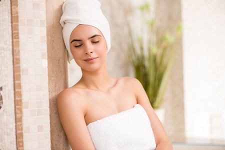 woman bath: woman relaxing after spa Stock Photo