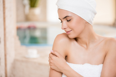 woman relaxing after spa procedures