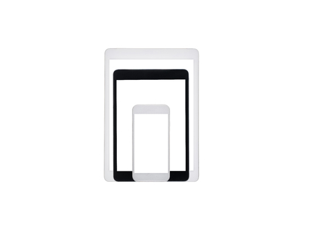 set of digital tablets and smartphone mock up isolated on white Banco de Imagens