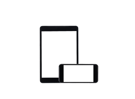 arranged set of digital tablet and smartphone with blank screens isolated on white
